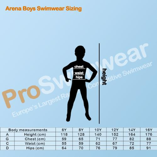 Arena Boy's Swimwear Sizing Guide