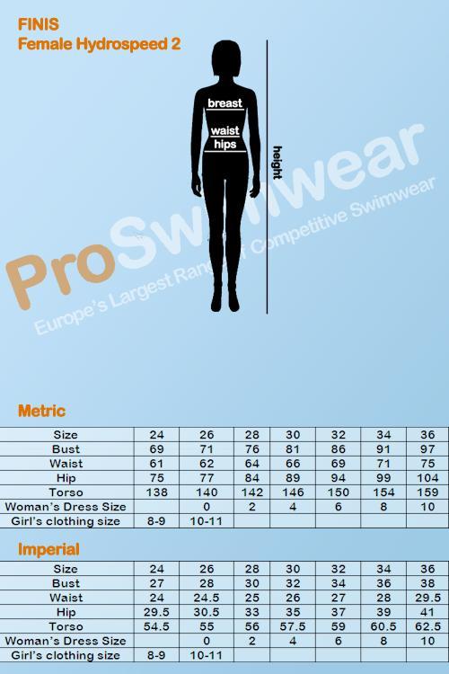 Finis Hydrospeed 2 Women's Size Guide