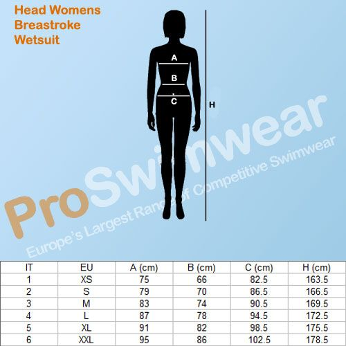 Head Breastroke Wetsuit Women's Size Guide