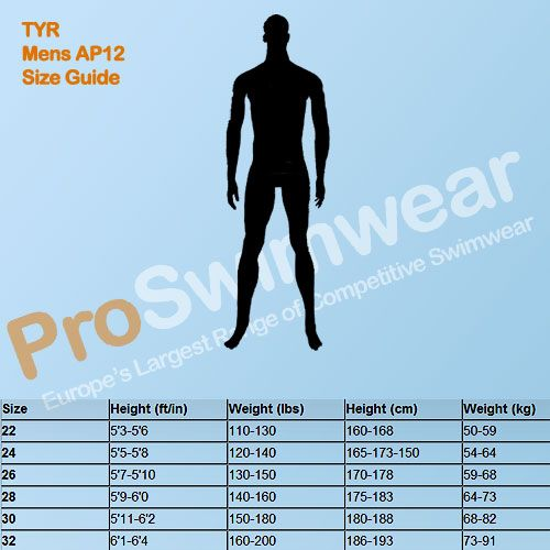 TYR AP12 Men's Size Guide