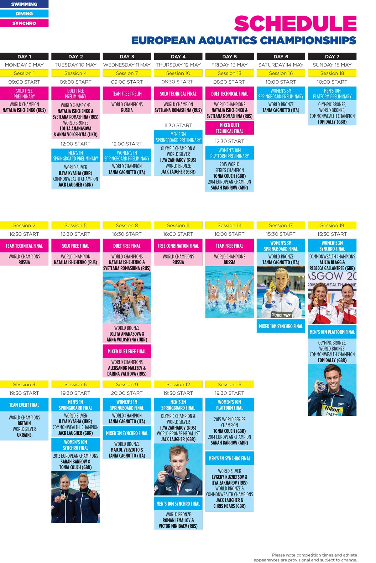 Aquatics Schedule - Week One