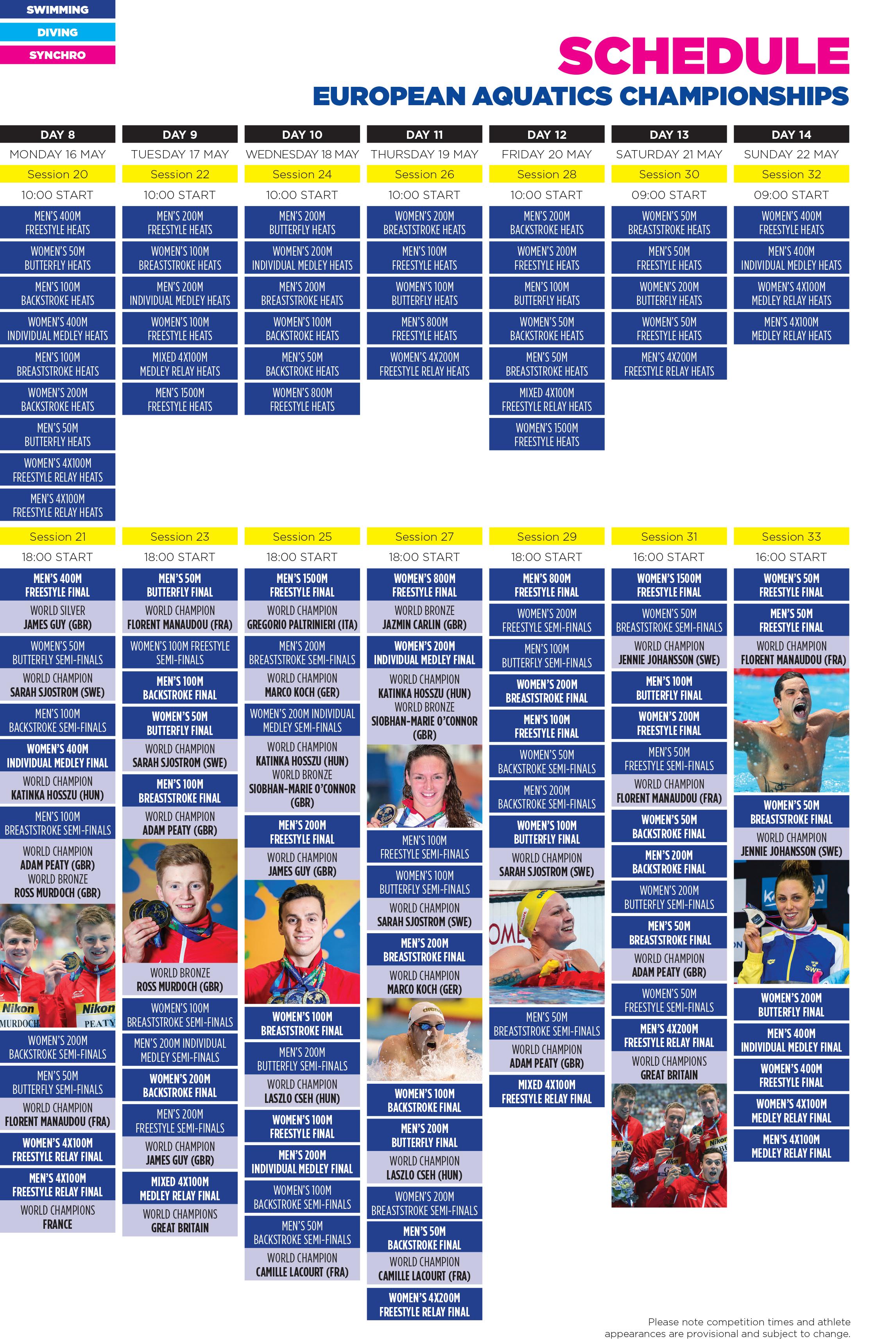 Aquatics Schedule - Week Two