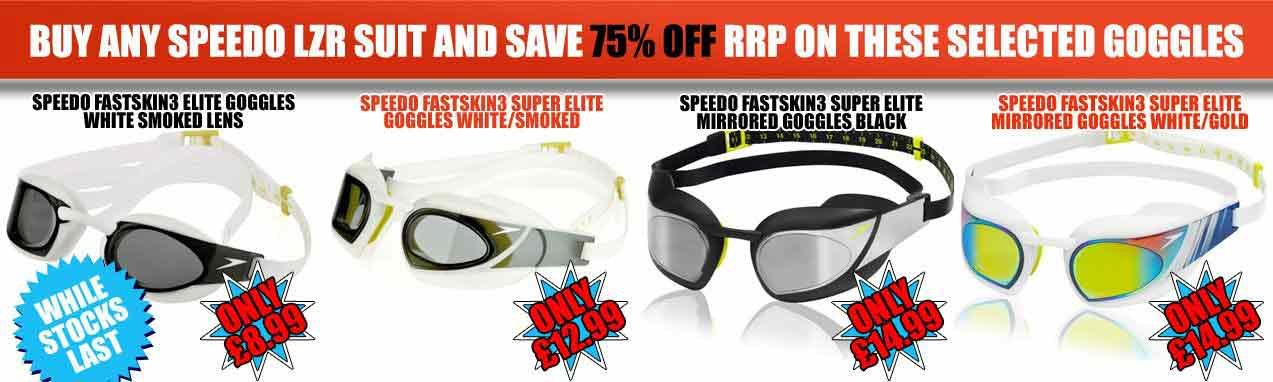 Great promotion at ProSwimwear - buy any lzr get 50% off on selected Speedo Fastskin3 goggles